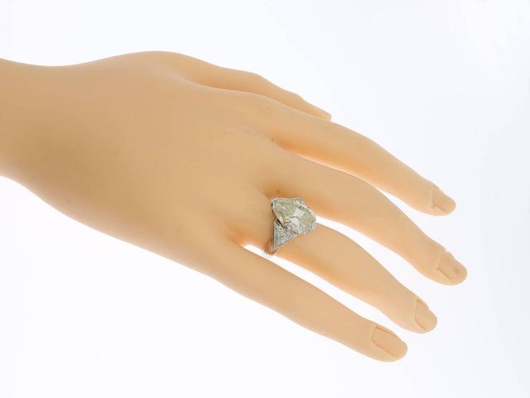 Women's Art Deco Teardrop Diamond Platinum Engagement Ring For Sale