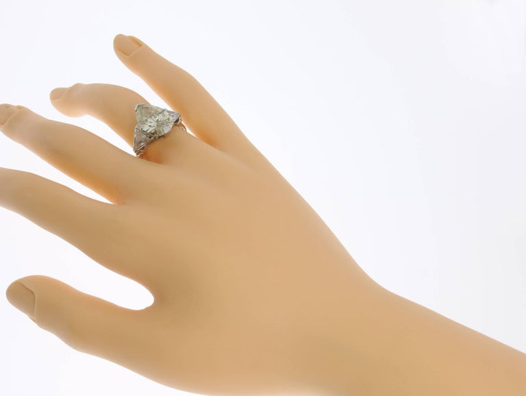 Art Deco Teardrop Diamond Platinum Engagement Ring For Sale 1