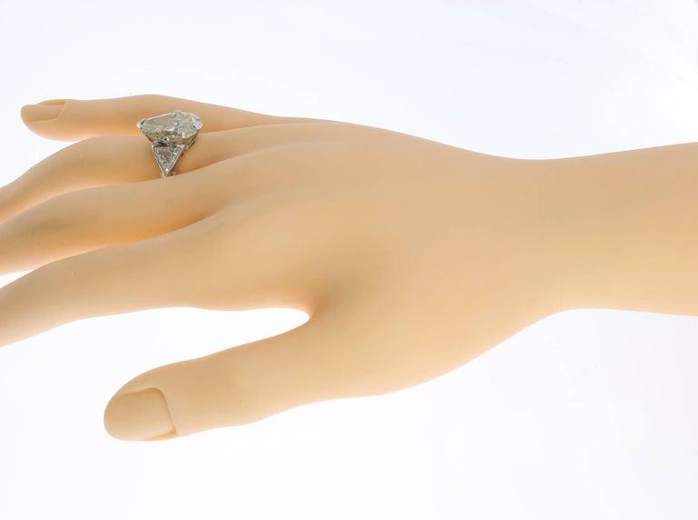 Art Deco Teardrop Diamond Platinum Engagement Ring For Sale 2