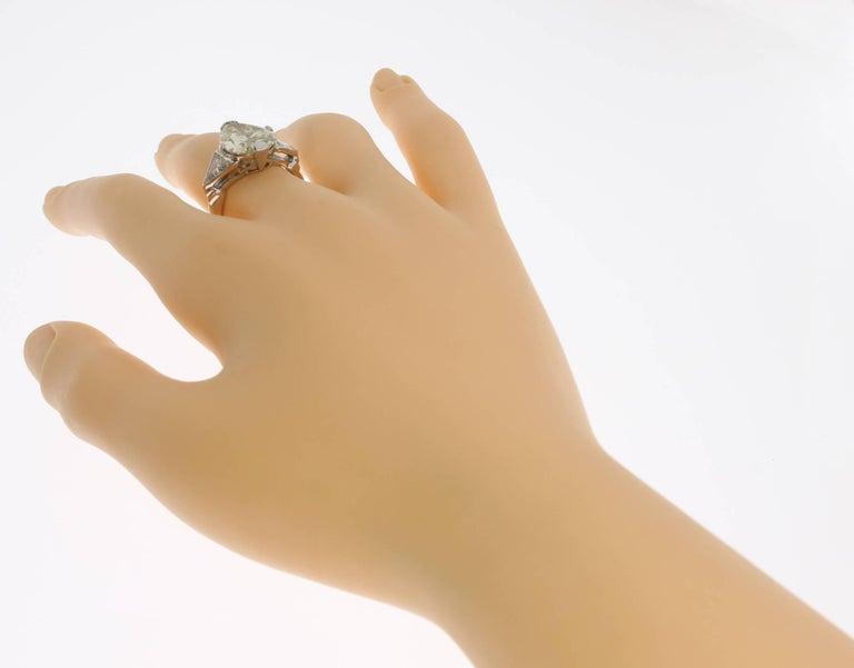 Art Deco Teardrop Diamond Platinum Engagement Ring For Sale 4