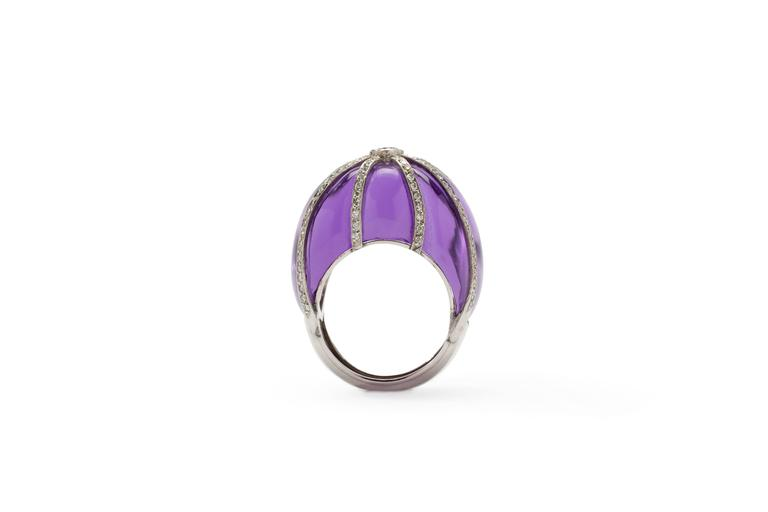 Brilliant Cut Amethyst Diamond Platinum Dome Ring For Sale