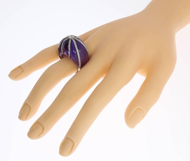 Amethyst Diamond Platinum Dome Ring For Sale 2