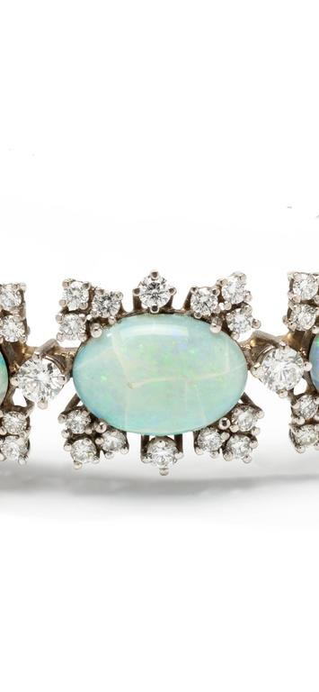 Opal Diamond Gold Bangle Bracelet 3