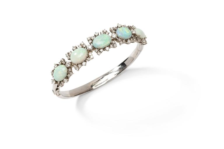 Opal Diamond Gold Bangle Bracelet 2
