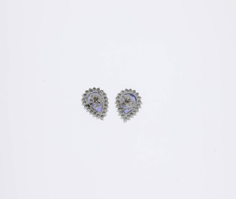 Women's Charming Tanzanite Diamond Gold Stud Earrings For Sale