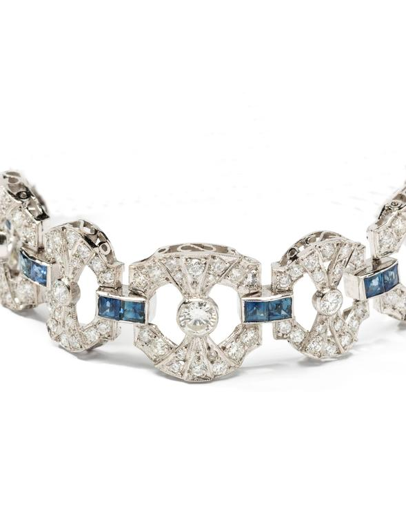 Art Deco Sapphire Diamond Platinum Link Bracelet In Excellent Condition For Sale In Berlin, DE