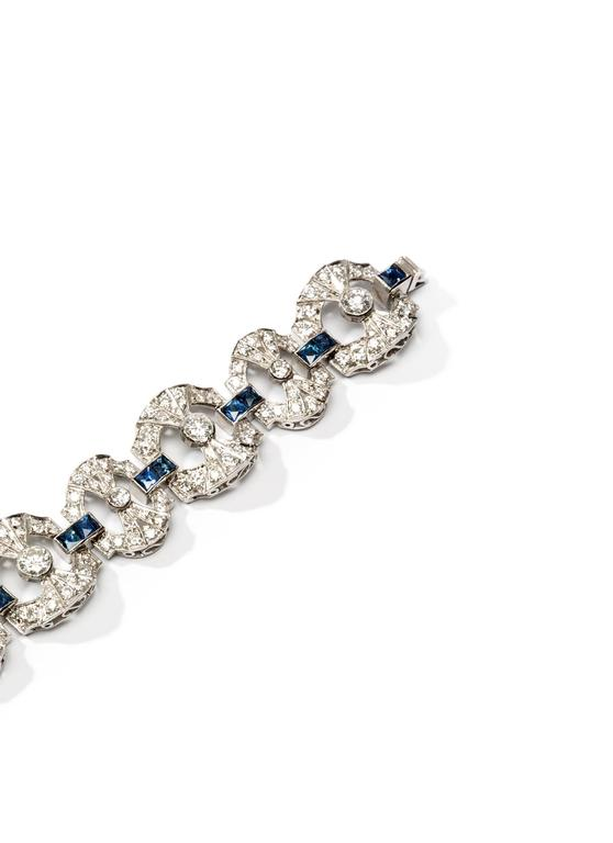 Women's Art Deco Sapphire Diamond Platinum Link Bracelet For Sale