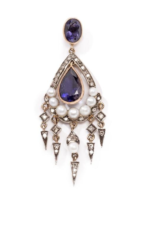 Art Deco Antique Sapphire Diamond Silver Gold Dangle Earrings For Sale