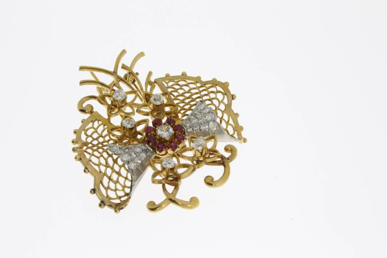 Brilliant Cut 1940s Ruby Diamond Gold Butterfly Brooch For Sale