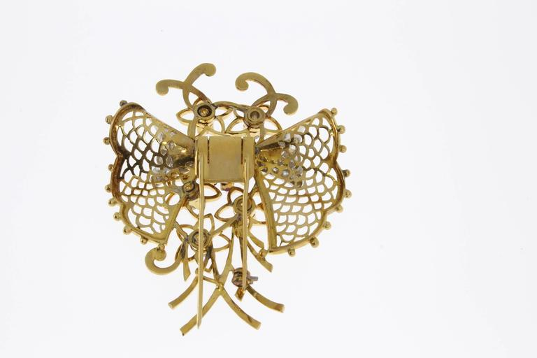 1940s Ruby Diamond Gold Butterfly Brooch For Sale 1