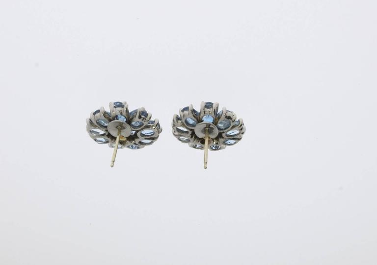 Women's Floral Shape Aquamarine Diamond Gold Stud Earrings For Sale