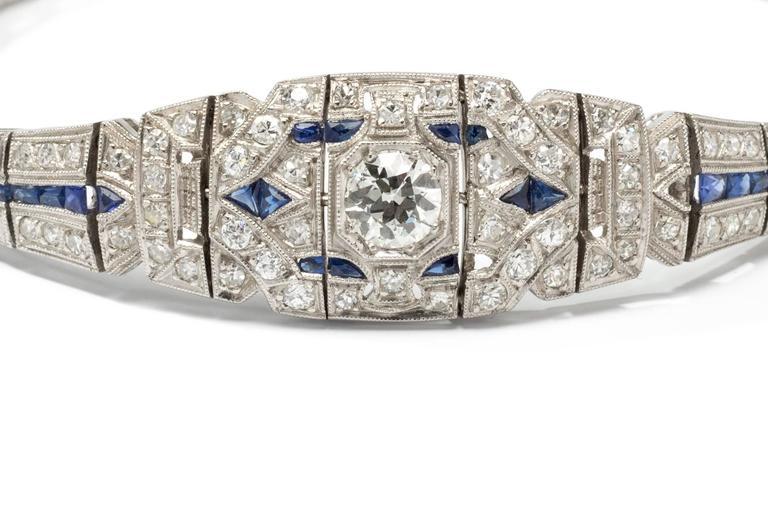 1920s Art Deco Sapphire Diamond Platinum Bracelet 3