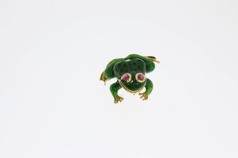 Women's Enamel Ruby Gold Frog Brooch For Sale