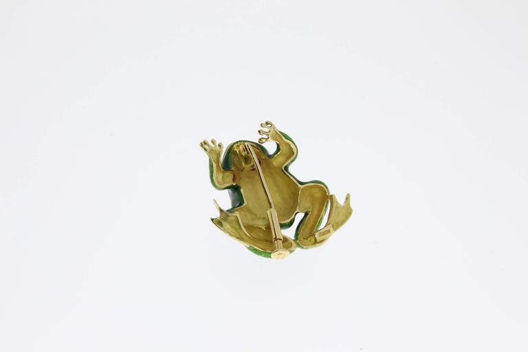 Enamel Ruby Gold Frog Brooch For Sale 1