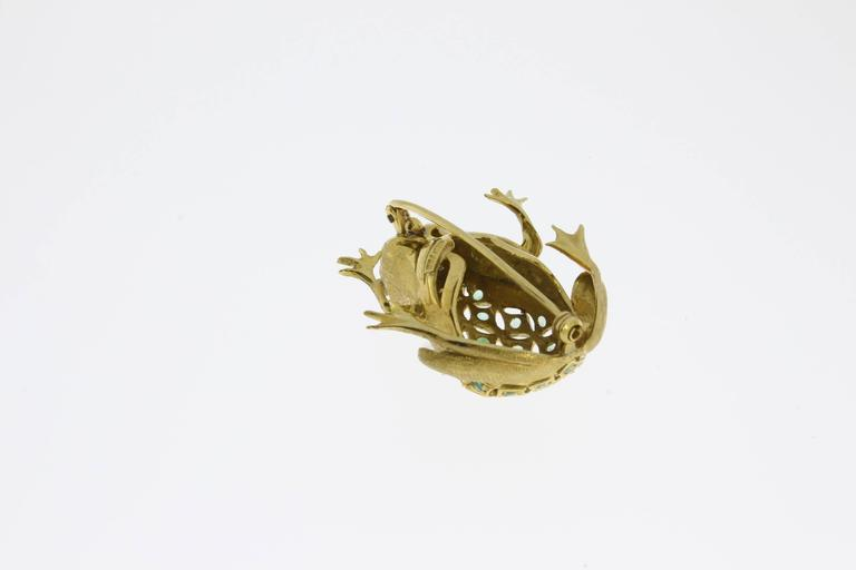 Emerald Diamond Gold Frog Brooch For Sale 1
