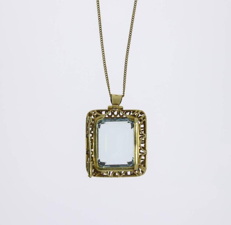Women's Large Aquamarine Gold Pendant Brooch For Sale