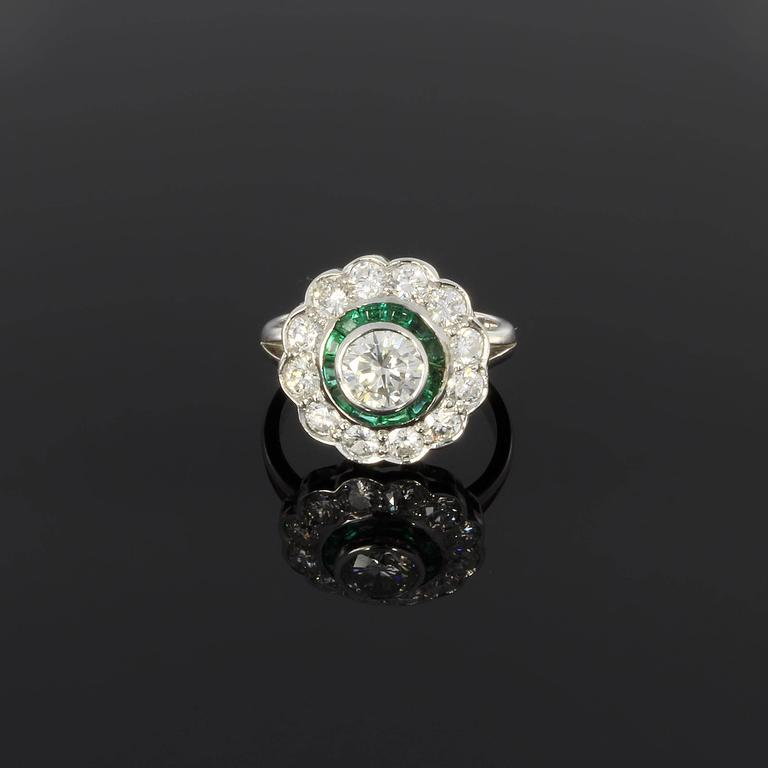Emerald Diamond Gold Cluster Ring 2