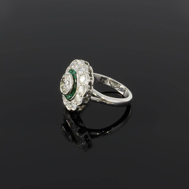 Emerald Diamond Gold Cluster Ring 3
