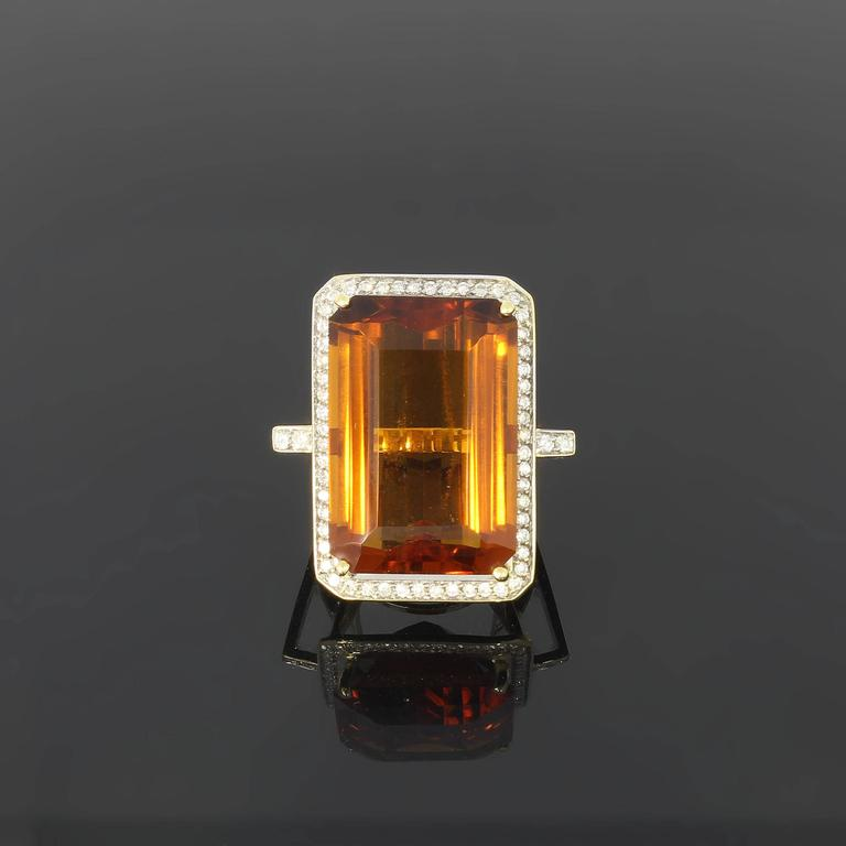 Large Citrine Diamond Gold Ring  2