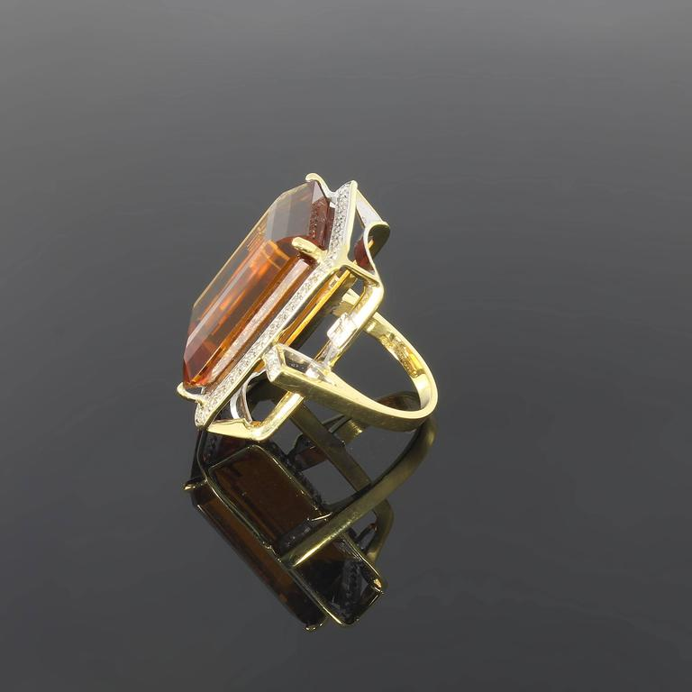 Large Citrine Diamond Gold Ring  3