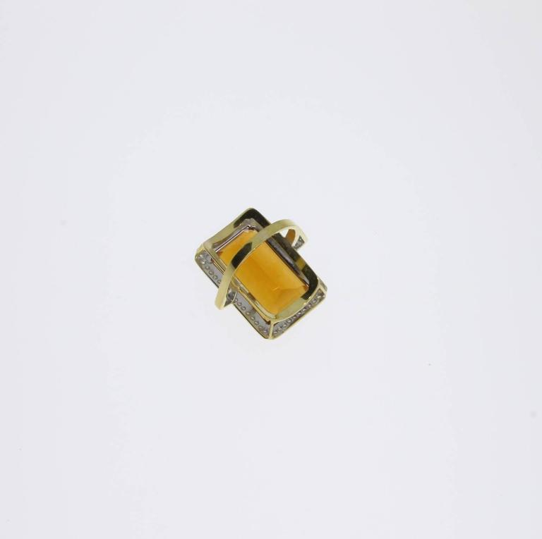 Large Citrine Diamond Gold Ring  5
