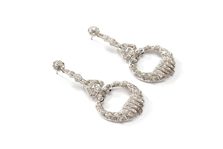 Exquisite Diamond White Gold Chandelier Earrings 2