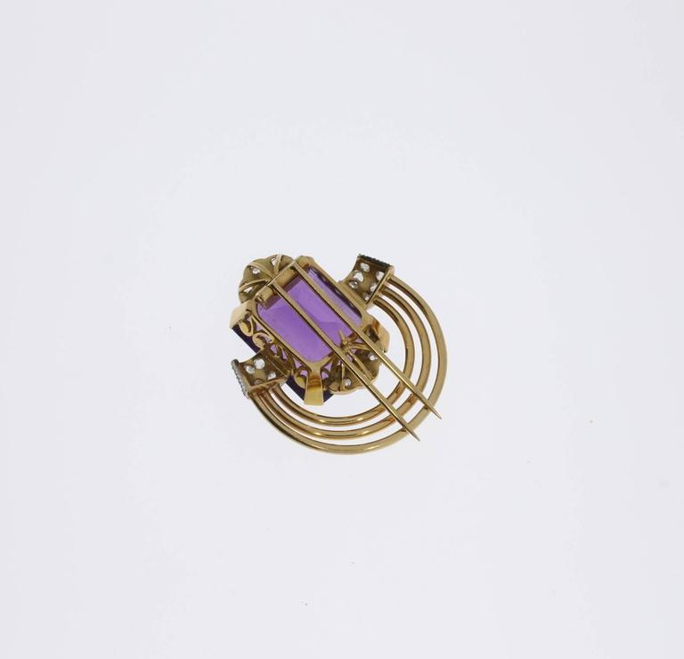 Amethyst Diamond Gold Platinum Pin In Excellent Condition For Sale In Berlin, DE