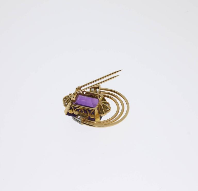 Women's Amethyst Diamond Gold Platinum Pin For Sale