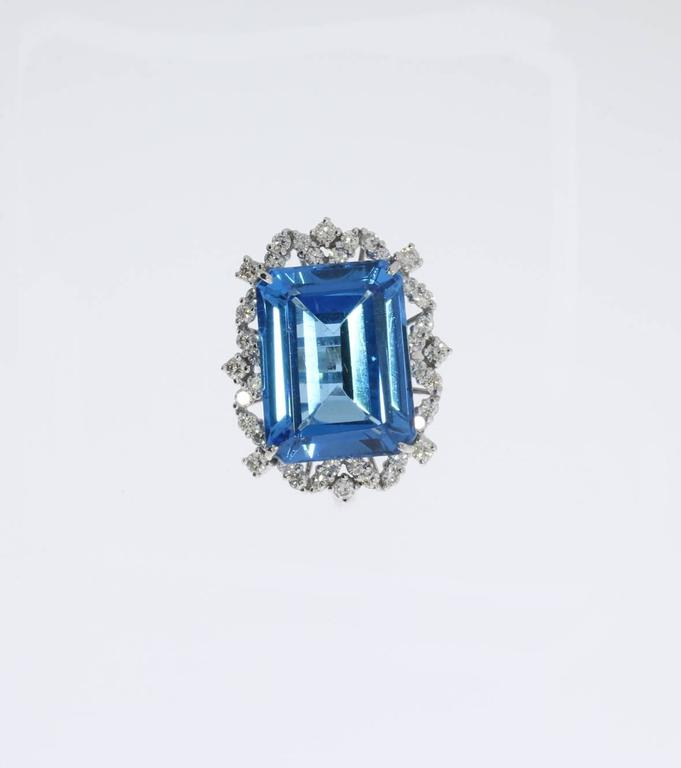 Blue Topaz Diamond Gold Ring  3