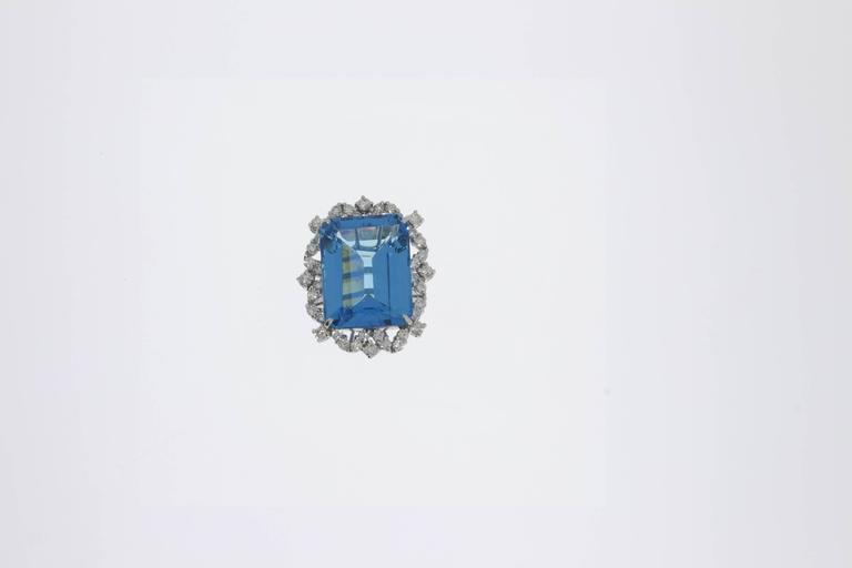 Blue Topaz Diamond Gold Ring  4
