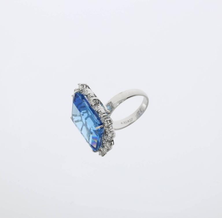 Blue Topaz Diamond Gold Ring  5