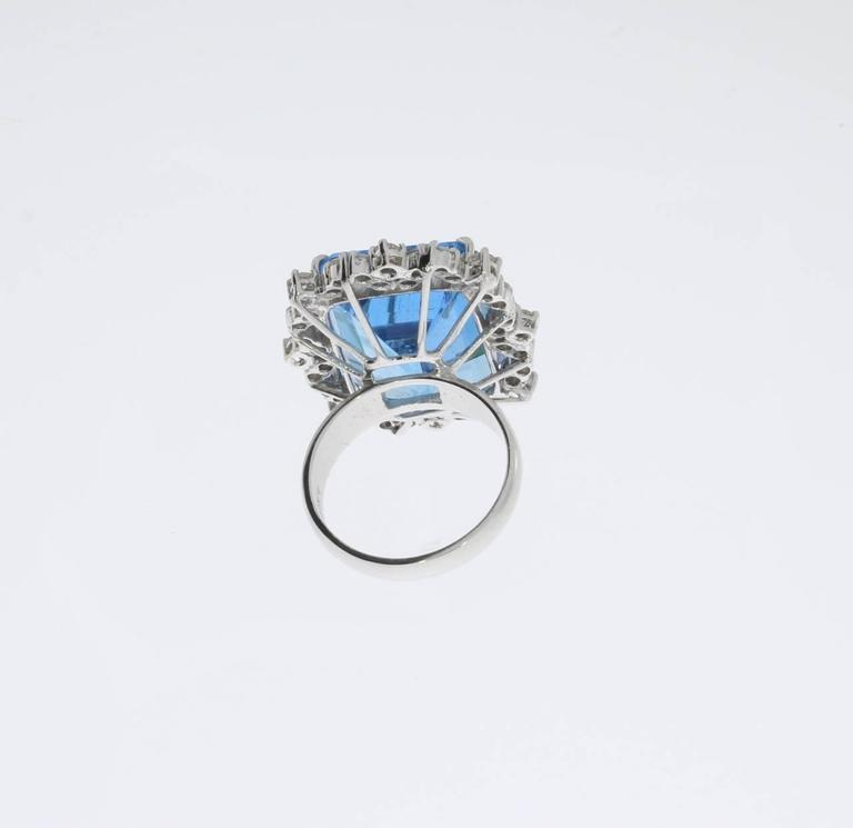 Blue Topaz Diamond Gold Ring  6