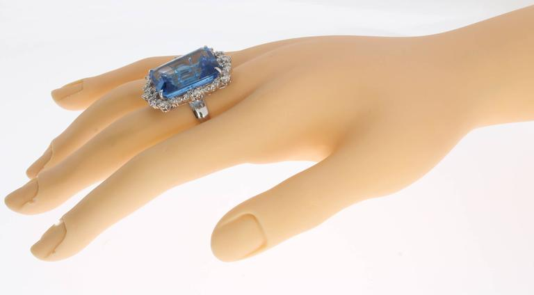Blue Topaz Diamond Gold Ring  8