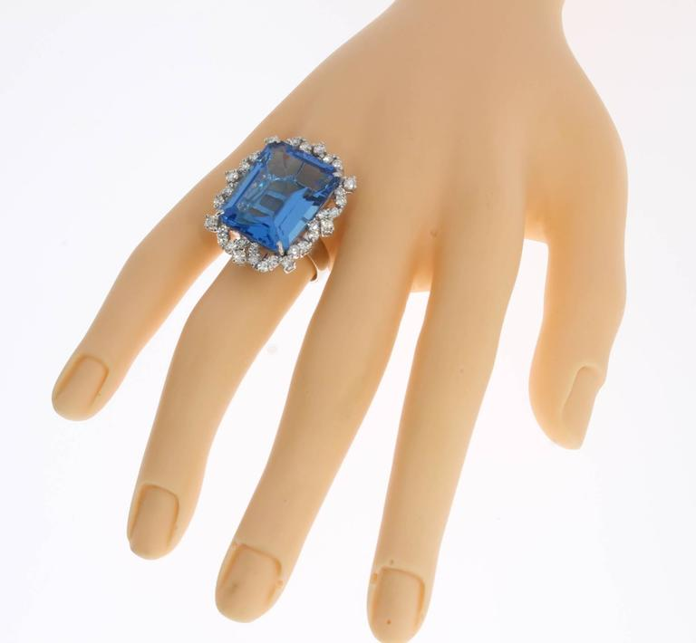 Blue Topaz Diamond Gold Ring  9