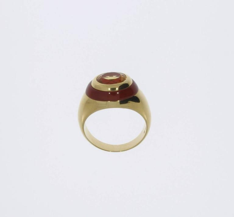 Citrine Carnelian Gold Ring In Excellent Condition For Sale In Berlin, DE