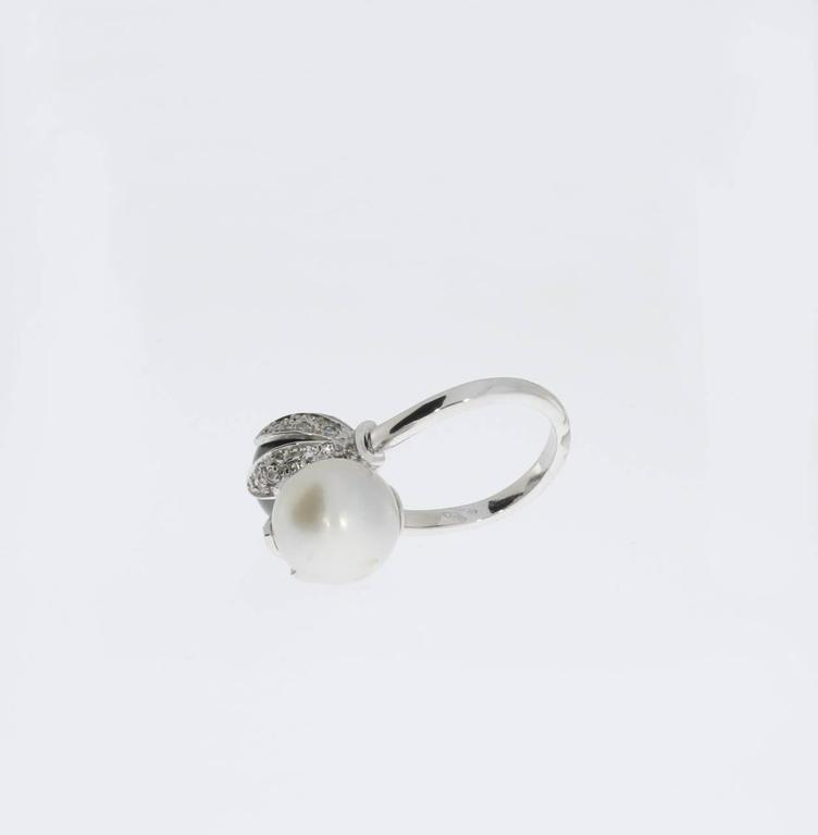 Tahitian and South Sea Pearls Diamonds Gold Ring  4