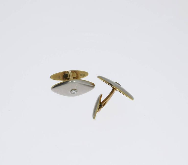 Men's Pair of Platinum and Gold Cufflinks with Diamonds For Sale