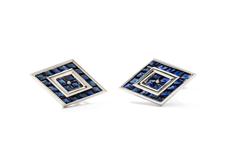 Set in 14 K white gold. The sapphires are created synthetic. Hallmarked with the purity 14K ORIGINAL and signed Lucien Piccard.  Total weight: 17,18 grams. Measurements: 0.79 x 1.34 in ( 2 x 3,4 cm )