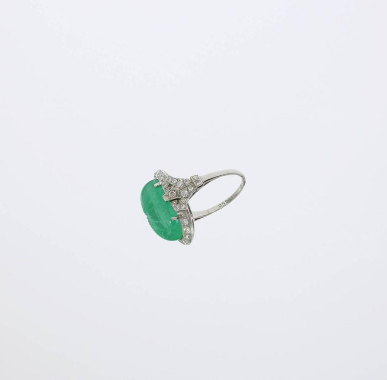 Platinum Ring with Carved Emerald and Diamonds 4