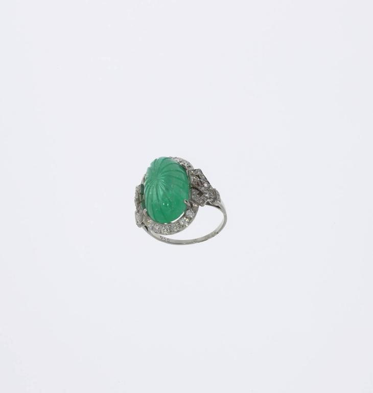 Platinum Ring with Carved Emerald and Diamonds 5