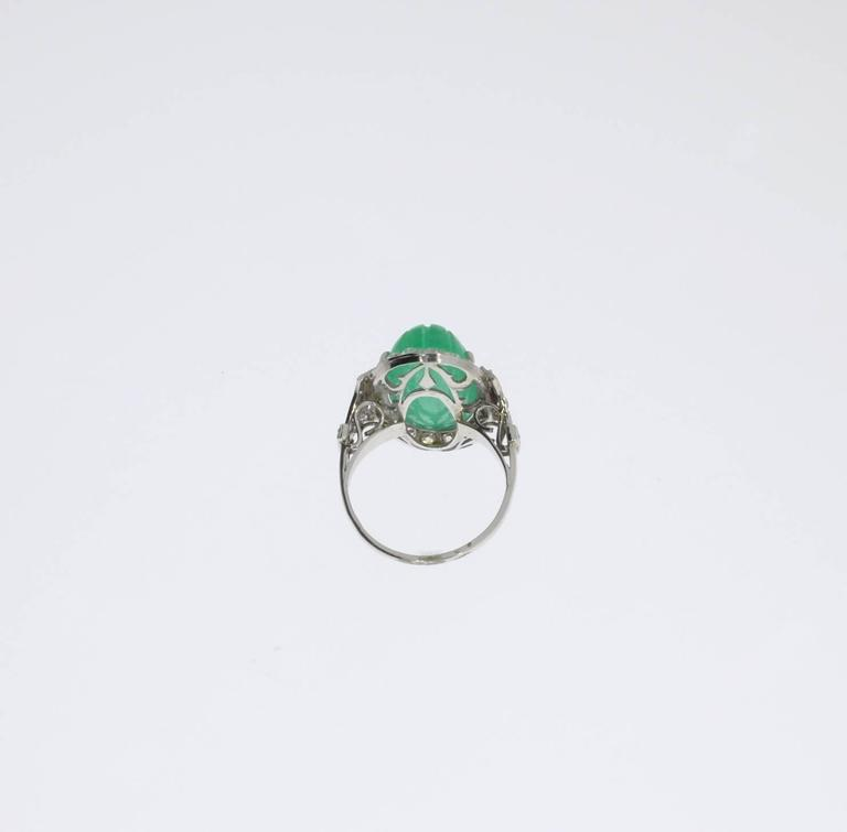 Platinum Ring with Carved Emerald and Diamonds 6