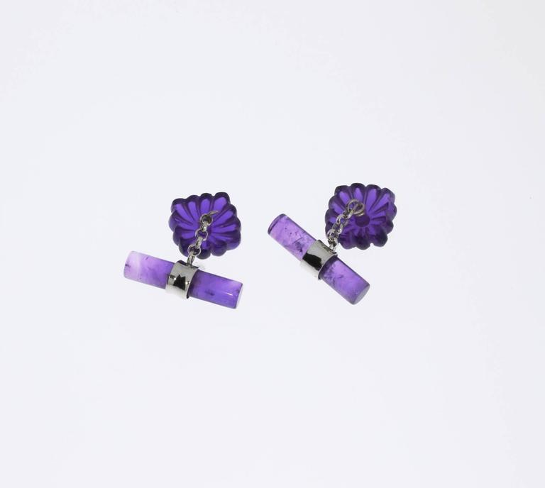 Round Cut Pair of Amethyst and Diamonds Gold Cufflinks For Sale