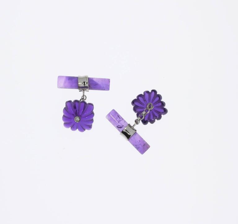 Pair of Amethyst and Diamonds Gold Cufflinks In Excellent Condition For Sale In Berlin, DE