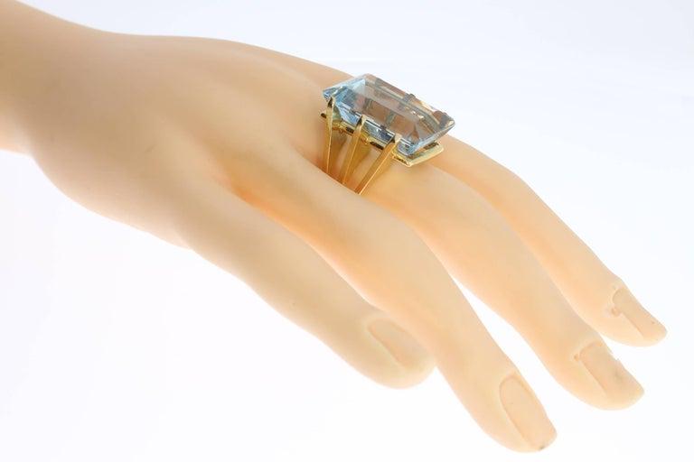 Large Aquamarine Gold Ring 7