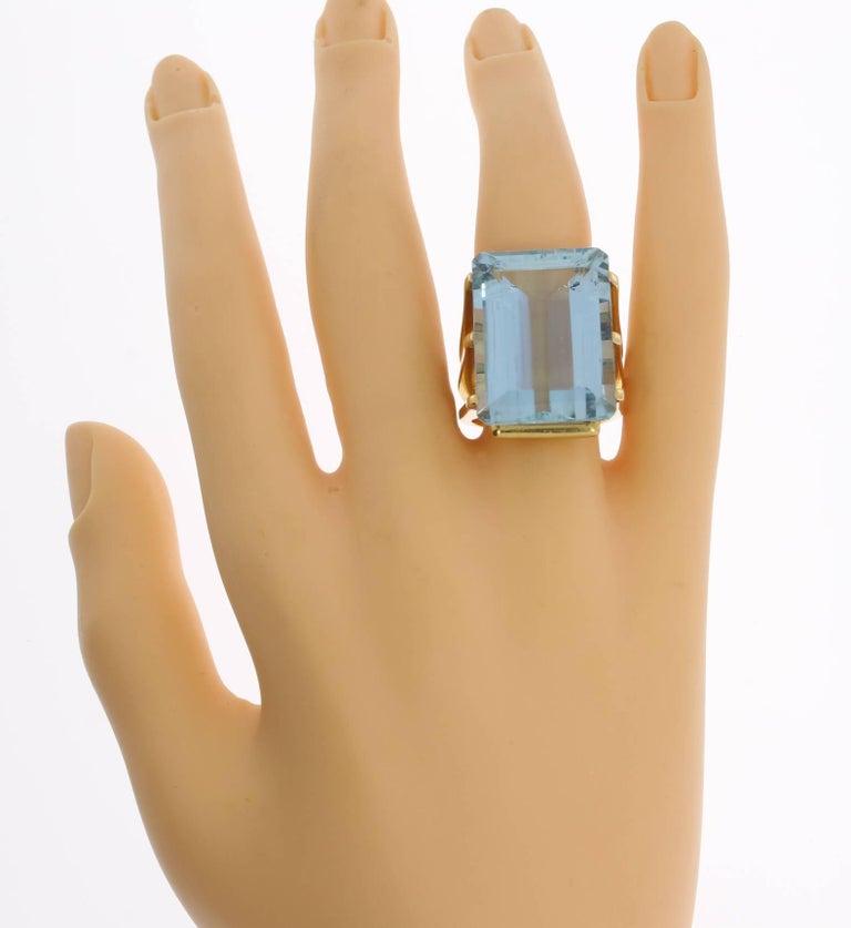 Large Aquamarine Gold Ring 10