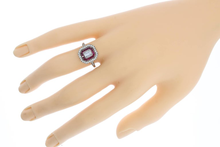 A Fine Ruby Diamond Cluster Ring 8