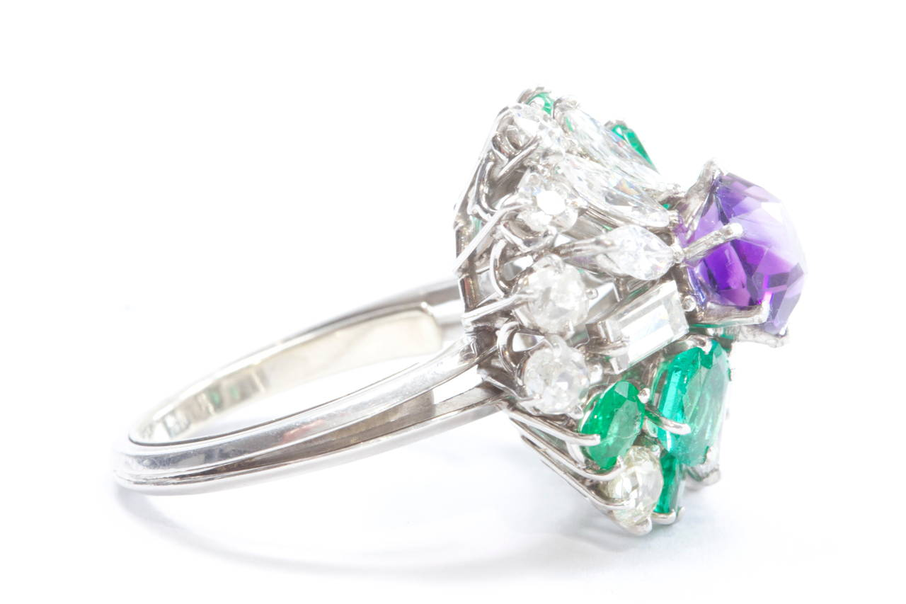 emerald amethyst gold ring at 1stdibs