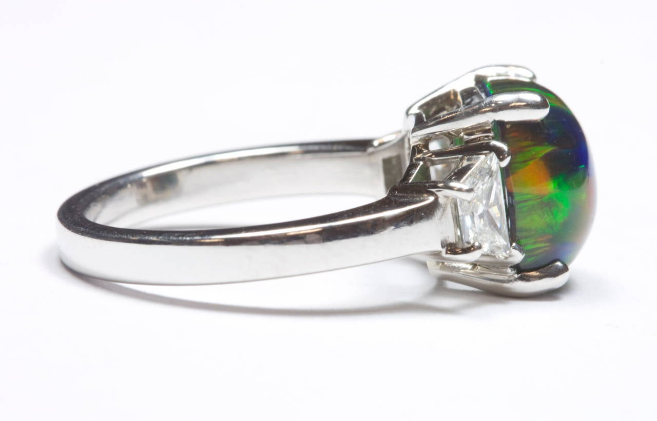 black opal platinum ring at 1stdibs