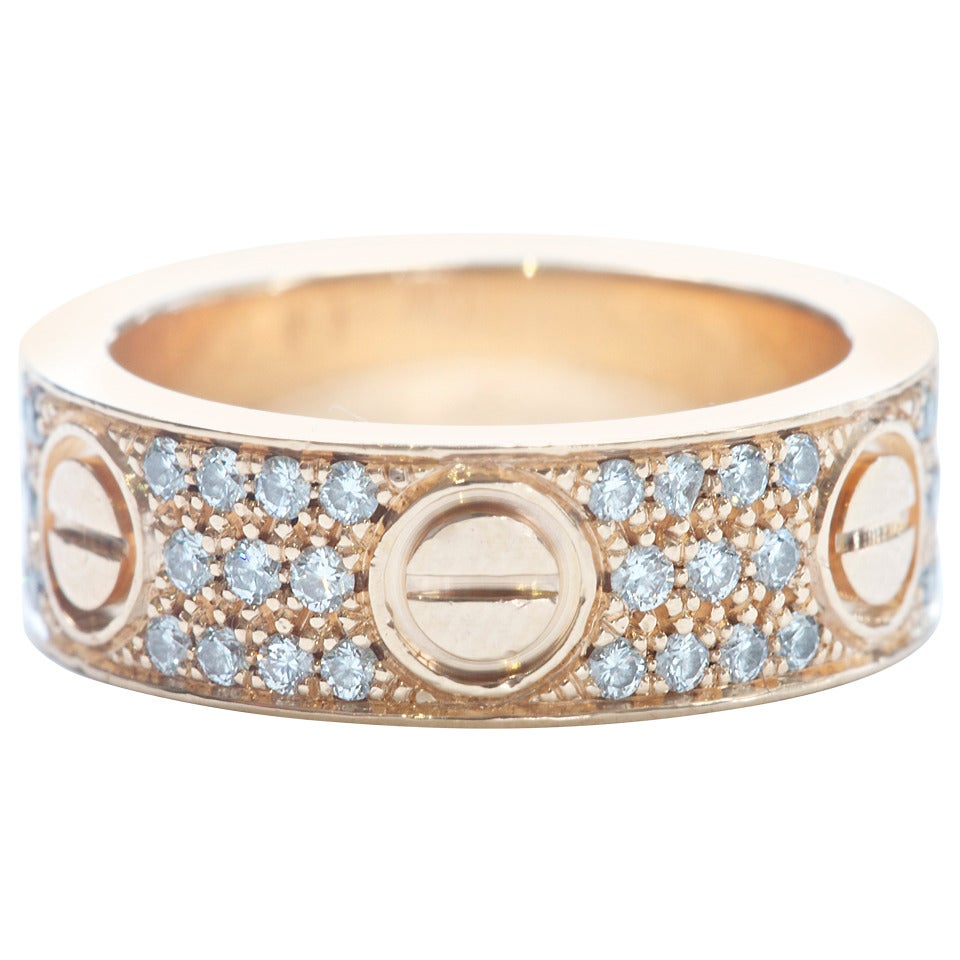 Cartier Diamond Love Gold Ring at 1stdibs Cartier Love Rings