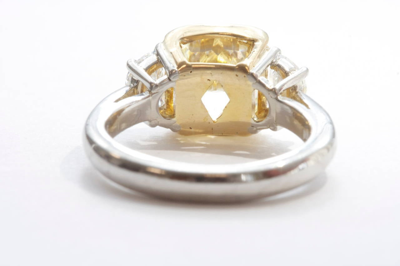 Fancy Yellow Diamond Platinum Engagement Ring at 1stdibs